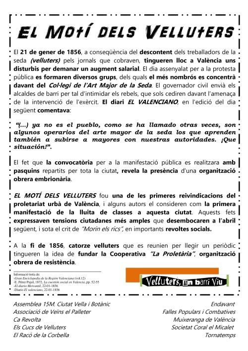 Informació històrica sobre El Motí dels Velluters